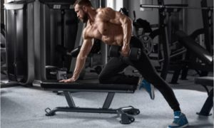 The man performs the dumbbell pullover regularly.