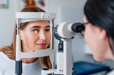 The patient gets a regular eye checkup.